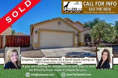 """SOLD! """"Gorgeous Single-Level Home On A North-South Facing Lot""""  *  If you are looking for properties to sell, buy or to rent, let """"The Fry Team"""" make it simple for you. CALL 623-748-3818 or visit www.FryTeamAZ.com for more info.  *  #SOLD #Residential #HomeForSale #SolanoDrive #LitchfieldPark #AZ #RealEstate #HomeBuying #HomeSelling #WestUSARealty #TheFryTeam"""