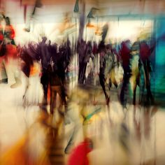A limited edition photo on plexiglass by Alain Delvoye, Moves in Berlin from Cobra Art showcases a blurred effect that underscores the bustling activity of a busy urban scene.