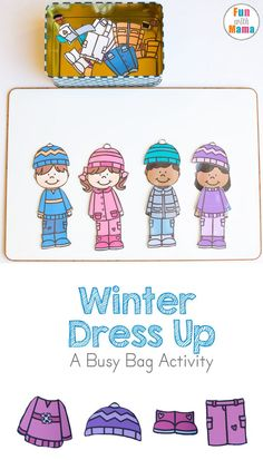Fun Free Printable winter dress up clothes and paper dolls for kids perfect for your kids restaurant kit, diy busy bags and quiet time activities. They travel kits are perfect for preschoolers, toddlers, kindergarteners and for the car to work on color recognition, fine motor skills, vocabulary and to keep the kids happy. via @funwithmama