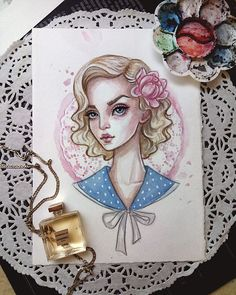 Original watercolor art. Pin-up fashionista.