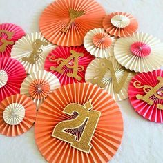 21st Birthday Paper Rosettes- Set of 13, 21st Birthday Decoration, Birthday Decorations, Finally 21, Birthday Backdrop, Photo Backdrop by #pleatsonsheets