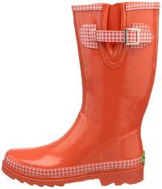Gingham rain boots