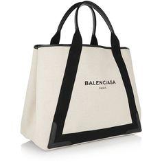 Balenciaga | Leather-trimmed canvas tote | NET-A-PORTER.COM (€695) via Polyvore