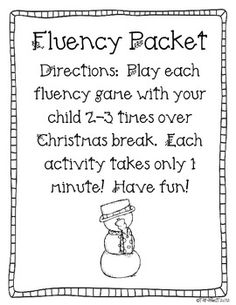 Christmas games: FREE Christmas fluency packet. 1-minute games for students to play over the holiday break.