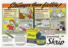 Comic strip-style advertisement for Sheaffer's  washable Skrip ink
