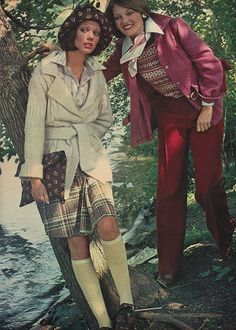 'A rosy shirt-jacket extends down and over the hips and is worn open…' (1973) #Seventeen