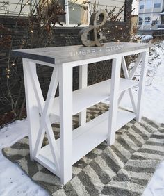 Ana White Plans | Console Table | DIY | DIY Console Table | Build Like A Girl | Shanty2Chic | Rustic Furniture | Farmhouse Decor | Modern Farmhouse