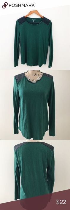 """Lord & Taylor Vegan Leather Accent Tee Hunter green L=longsleeve t shirt with faux/vegan quilted leather accents at the shoulders. By Lord and Taylor. Cotton with polyester. Size M but runs big in my opinion. Bust is 20"""" across and length is 27."""" Excellent condition with no holes or stains. Perfect for layering! No trades. Bundle to save or make an offer!  H1 Lord & Taylor Tops Tees - Long Sleeve"""