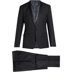 Dolce & Gabbana Shawl-lapel wool and silk-blend tuxedo (€2.620) ❤ liked on Polyvore featuring men's fashion, men's clothing, men's suits, navy, mens tuxedo suits, mens tailored suits, dolce gabbana mens suits, mens peak lapel suit and dolce gabbana mens clothing