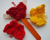 Butterfly Lollipop, Decoration, Wooden Stick and Crocheted Butterfly, 6 variations