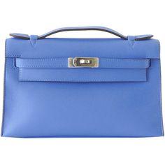 Pre-Owned Hermes Kelly Pochette Blue Paradis swift palladium hardware ($24,500) ❤ liked on Polyvore featuring bags, handbags, blue paradis, hermes bag, colorful purses, hermes handbags, round handbag and blue purse