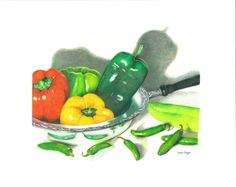 Dancing Peppers 8 x 10 © Susie Tenzer colored pencil Red Green Yellow, Stuffed Green Peppers, Contemporary Paintings, Colored Pencils, Watermelon, Cool Designs, Vintage Items, Vegetables, Handmade Gifts