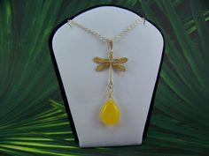 Gold Dragonfly Necklace Lemon Yellow Czech by CreatedinTheWoods, $24.95