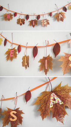 Lizzie's birthday in the woods beautiful fall garland - das himmlische Kind: Partyplanung How Do Magnolia Leaf Garland, Fall Leaf Garland, Green Garland, Diy Crafts For Kids, Fall Crafts, Halloween Crafts, Christmas Crafts, Felt Flower Bouquet, Felt Flowers