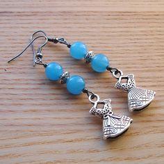 Blue Dress Charm Bead Earrings