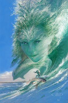 Goddess of seas Seas, Fantasy Art, Disney Characters, Fictional Characters, Creatures, Waves, Angel, Disney Princess, World