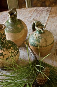 Pottery pitchers from Biot on beautiful table with great patina