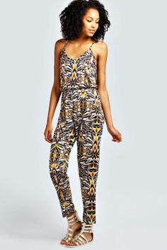 Faye Tribal Print Strappy Jersey Jumpsuit at boohoo.com