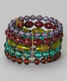 Look what I found on #zulily! Purple & Blue Bead Bracelet #zulilyfinds