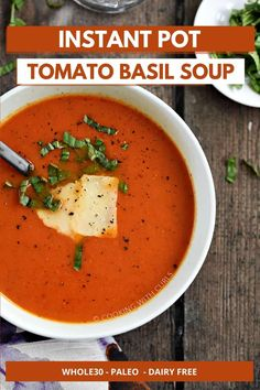 This easy Instant Pot Tomato Basil Soup is ready in just 30 minutes. Creamy tomato soup with canned tomatoes, dried or fresh basil, carrots, onion, garlic, and chicken stock all come together to create a delicious, cozy soup the whole family will love!