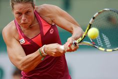 Karin Knapp of Italy hits a return to Sloane Stephens of the U.S. during their womens singles match at the French Open tennis tournament at the Roland Garros stadium in Paris May 27, 2013. REUTERS/Gonzalo Fuentes