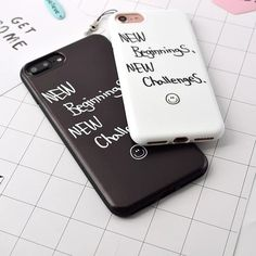 Newest Fashion Funda Letter Case Matte Hard Cover Cartoon Capa