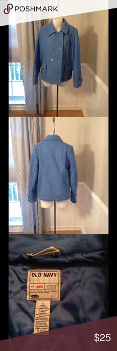 Old Navy Pea Coat Great periwinkle blue pea coat size L Old Navy Jackets & Coats Pea Coats