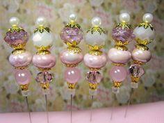 Decorative Stick Pin Lot 6 Shabby Chic Pink White Gold Tone Caps Hat Pin Hijab  #handmade