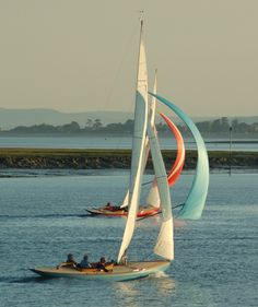 Query V25 and Spray V46 cruise down Chichester Harbour in the evening sunshine. This is what racing on a Thursday evening is all about!