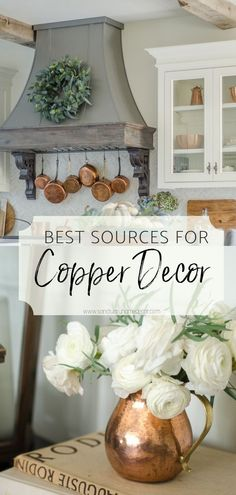 "It's no secret that I love using copper in my home decor. I think it adds such a warm touch to any room and transitions from season to season beautifully. One of the questions I get most often is ""Where do you buy your copper?"" I wish I could tell you that I had one easy source for buying all of my copper decor and kitchenware, but the truth is I purchase it from many sources. Modern Farmhouse Design, Rustic Farmhouse Decor, Farmhouse Style, Decorating Your Home, Diy Home Decor, Decorating Ideas, Decor Ideas, Seasonal Decor, Fall Decor"