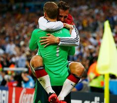 Neuer and Klose. Sweet victory hug!!! Germany FIFA World Cup Soccer Champions 2014. july 13. Brazil