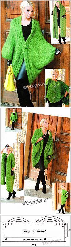 Зеленая накидка-трансформер спицами | Вязание спицами, вязание крючком | Мир увлечений современной женщины.