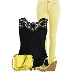 Yellow Jeans, Black Top, created by daiscat on Polyvore