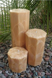 Octagon Feather Palm Wax Pillar Candles
