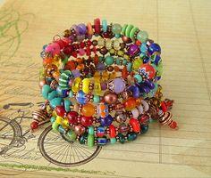Boho Bracelet, Global Chic , Art Jewelry, Layered Bracelet,  Bohemian Jewelry, World Market