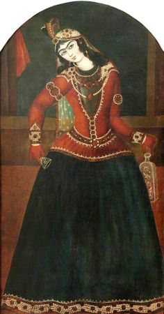 Lady with Bottle and Glass by Persian (Qajar) School Government Art Collection Date painted: c.1820–1830 Oil on canvas.