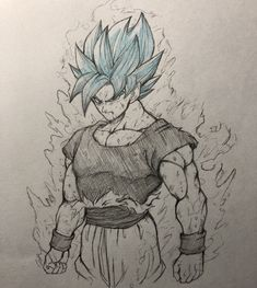 Dbz Drawings, Cool Art Drawings, Art Sketches, Pencil Sketch Drawing, Anime Sketch, Ball Drawing, Figure Drawing, Dragon Ball Z, Vegeta Ssj Blue