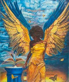 Angelic Guidance by Buena Johnson ~ I like the colors in this. Normally I don't pin sexy looking angels, but I'm making an exception for this one.