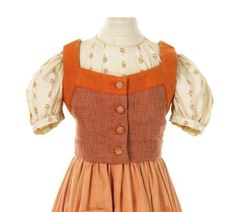"This is an adorable dirndl worn by Brigitta von Trapp (Angela Cartwright) in the ""Do Re Mi"" scene of the Sound of Music.  It's about to be auctioned off!  Read more here: http://www.edelweisspatterns.com/blog/?p=3950"