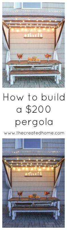 Build this modified pergola for $200, including the lights and curtains!