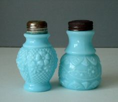Antique Turquoise Glass Salt and Pepper Shakers - Glass Salt and Pepper Shakers - Vintage Blue Glass Spice Shakers. $78.00, via Etsy.