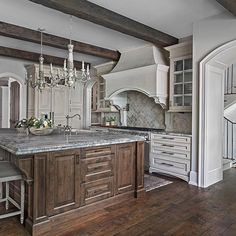 Rustic beams never fail to add so much character to a space ... | by @ellwoodinteriors |
