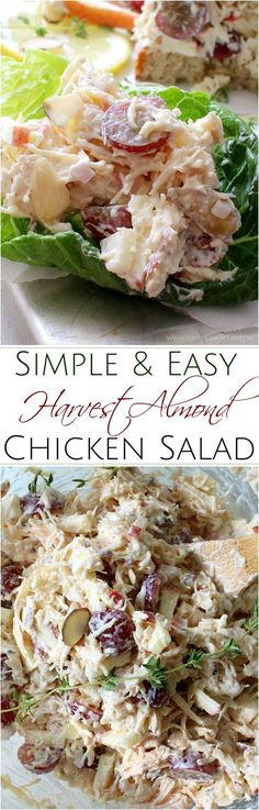 Make busy weeknight meals a snap with this easy harvest almond chicken salad! Crisp apples, sweet grapes and crunchy almonds add great texture and flavor!