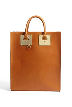 Large Leather Tote Bag With Goldplate Hardware by Sophie Hulme - I was obsessed with the Black, but i think im switching to the brown