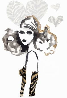 Girl with head scarf - fashion illustration by Fiona Maclean. #art #illustration #artist #saatchiart #gallery #fashionillustration