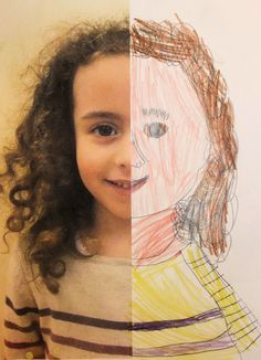 Half Self-Portraits Project by Hannah's Art Club. - Art is a Way Paint, omakuva Club D'art, Art Club, Arte Elemental, Classe D'art, Kindergarten Art Projects, Kindergarten Self Portraits, Ecole Art, Preschool Art, All About Me Preschool Theme