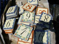 Using subway tiles, paper and outdoor Mod Podge to create house numbers. House Number Plates, Tile House Numbers, House Tiles, Tile Projects, Cool Diy Projects, Project Ideas, Craft Ideas, Ceramic Tile Crafts, Diy Coasters