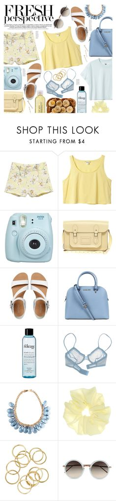 """""""Close My Eyes, Let The Whole Room Come To Life. We Didn't Know It Back Them, Not At The Time But Two People Never Climbed So High."""" by cattytwins ❤ liked on Polyvore featuring MTWTFSS Weekday, Monki, Fujifilm, The Cambridge Satchel Company, ALDO, Michael Kors, philosophy, La Perla and Linda Farrow"""