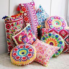 Bombay Duck Fiesta Embroidered Cushion | Prezola - The Wedding Gift List Floor Pillows, Throw Pillows, Patio Pillows, Deco Originale, Embroidered Cushions, Indian Home Decor, Bohemian Decor, Bohemian Design, Boho Chic