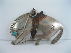 Lot 25 RARE Old Navajo Silver Turquoise Horse w Copper Saddle Pin Brooch | eBay
